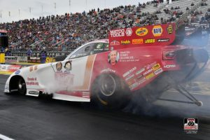 Earning No. 5 seed for NHRA playoff not consolation for Johnson after early losses at Indy in Shootout, U.S. Nationals eliminations