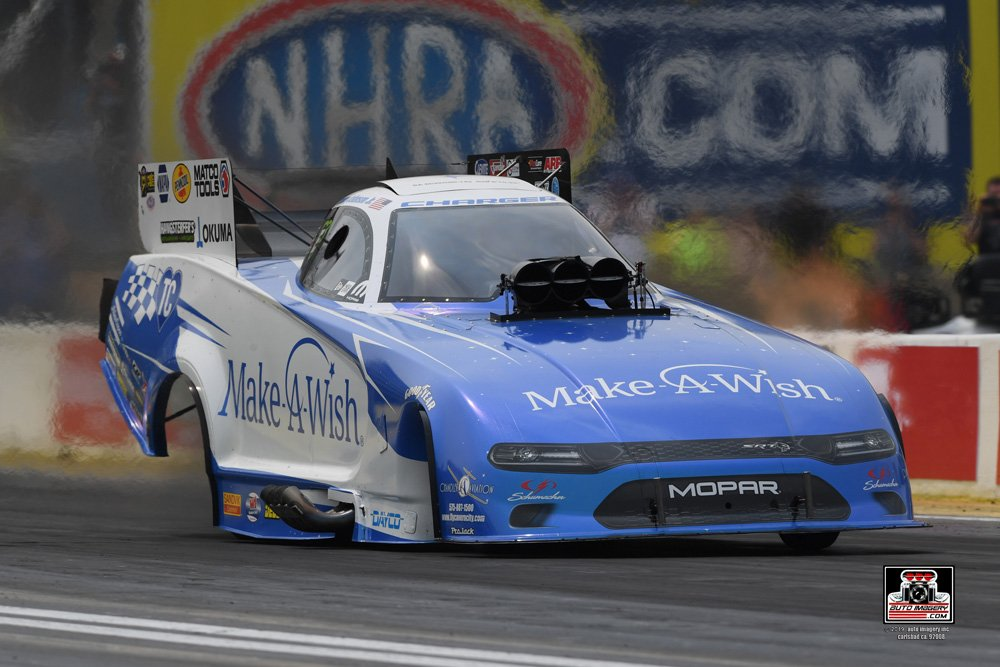 Johnson Qualifies No. 2 at Chicago, Leads Seven Mopar-powered Dodge Charger NHRA Funny Car Drivers into Elimination Rounds